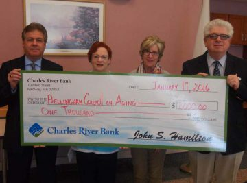 Photo Caption (L to R): Charles River Bank AVP/Bellingham Branch Officer Michael Tuite, Bellingham Senior Center Outreach Coordinator Sheila Ronkin, Bellingham Senior Center Assistant Director/ Outreach Lisa Mottola and Charles River Bank President & CEO Jack Hamilton with the $1000 donation to support outreach programs.