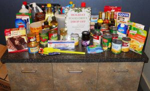 Photo Caption: (Medway) A sample of the food donations made in 2015 by Charles River Bank to the Medway Food Pantry.