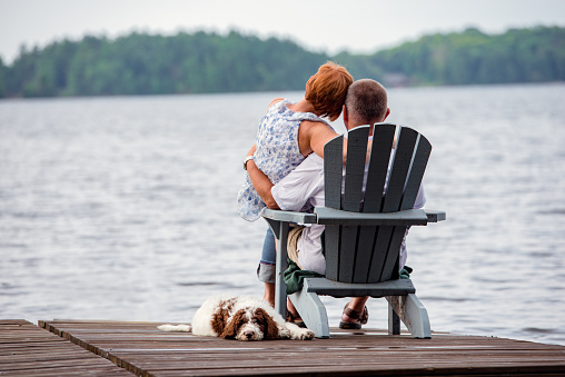 Couple on Dock with Dog